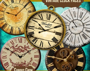 Vintage Clock and Watch Faces 30mm Circles Digital Collage Sheet Bottle Cap Pendant Jewelry