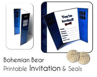 3D Blue Police Box Invitation Card, PRINTABLE, Instant Digital Download, Bonus DIY Vintage Police Box Stickers/Seals