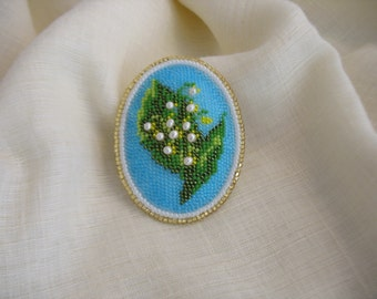 Bead embroidery brooch.Christmas gift. Beaded brooch. Handmade bead embroidery  Lilly of the valley flower  brooch. Mother's Day gift.