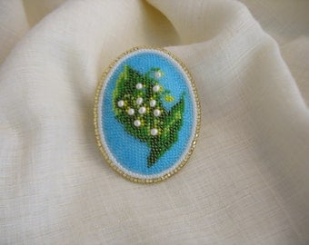 Lilly of the Valley bead embroidery brooch. Mother's day gift. Beaded brooch. Vintage style handmade beaded brooch.