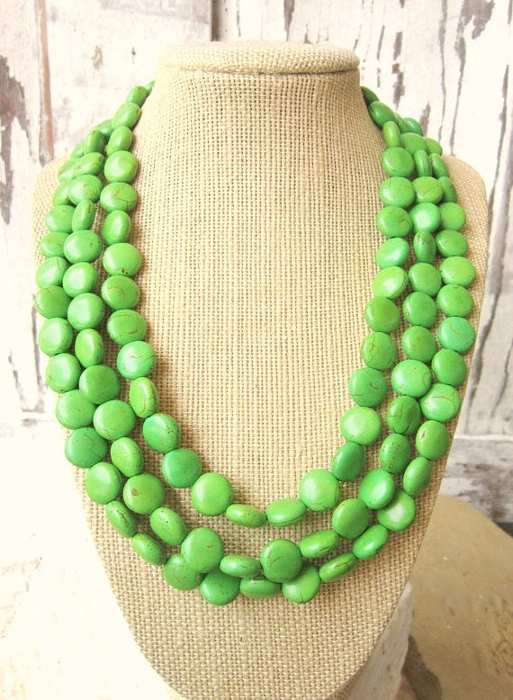 Apple Green Turquoise Statement Necklace Lime Green Multi