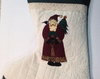 Debbie Mumm Santa Quilted & Appliqued Christmas Stocking - Door Hanging