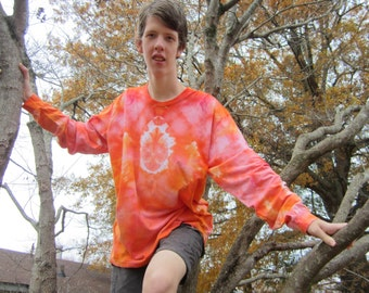 Long Sleeved T-shirt Tie-dyed in Glorious Sunrise Colors