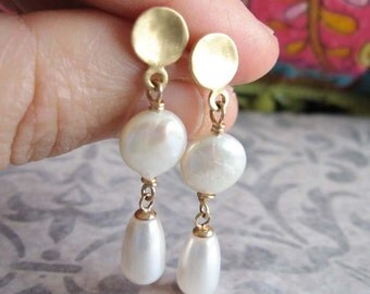 Gold and Pearl Earrings , Dangle post earrings , Wedding Earrings , Bridal Earrings , Handmade by Adi Yesod
