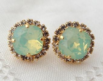 Mint earrings,Opal earrings,Mint green studs,Mint bridesmaid earrings,mint crystal stud,Swarovski earrings,Mint bridal earrings,Gold Silver