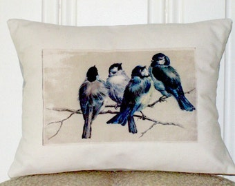 """shabby chic, feed sack, french country, vintage bluebird illustration 12"""" x 16"""" with contrast backing pillow sham."""