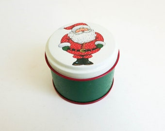Miniature Santa Tin - Small Gift Box for Jewelry - Trinket Box - Candy Container - Stocking Stuffer - Christmas Decoration - Wreath Supply