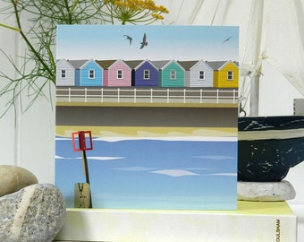 Shoreline Card - beach hut, blank, British seaside, birthday