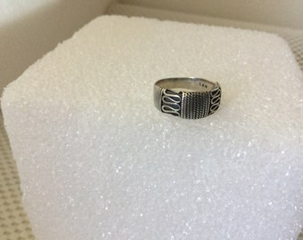 Ring, Sterling Silver Ring,  Size 7 Ring, Rope Design Ring, Vintage Sterling Silver Ring