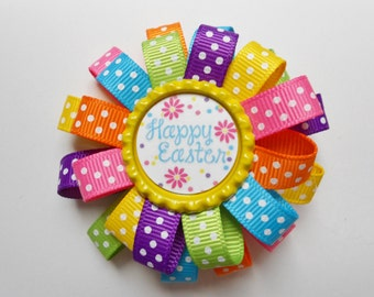 Resurrection Easter Spring  loopy flower hair bow
