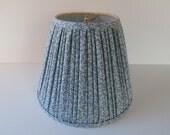 Laura Ashley Shade, Gathered Blue Floral Fabric Lamp Shade, English Decor Shade for Bedroom Lamp, 1980s 1990s Lamp Shade