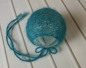 Newborn Teal Blue Green Lace Knit Classic Mohair Bonnet - Ready to Ship Photography Prop, RTS Photo Prop