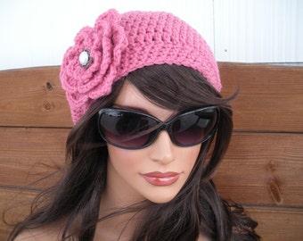 Womens Hat Crochet Hat Winter Fashion Accessories Women Slouchy Beanie Hat in Rose pink with Crochet Flower by creationsbyellyn