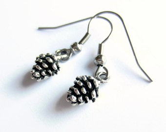 Tiny Silver Pine Cone Earrings, Woodland Forest Drop Earrings, Hypoallergenic, Surgical Stainless Steel Earrings, Gift for Her