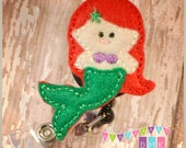 Lil Mermaid Red Hair with Green Tail - Felt Badge Reel - Retractable ID Badge Holder - Embroidered Name Tag Pull - Alligator or Slide Clip