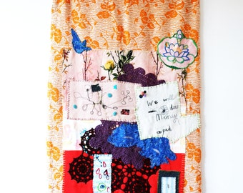 Textile Wall Hanging made from vintage blanket and fabrics, machine embroidery. textile collage. Interior. art