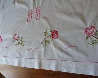 Antique French linen dowry sheet hand monogrammed PG hand embroidered pink roses w drawnwork vintage wedding linens w heirloom embroidery