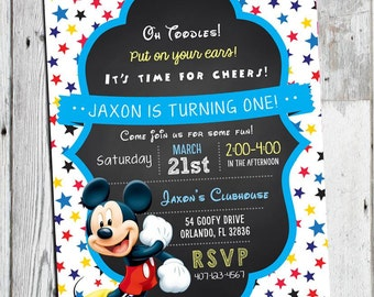 Mickey Mouse Invitations, Mickey Mouse Birthday Invitation, Mickey Birthday Invitation, Mickey Mouse 1st 2nd 3rd Birthday, Oh Toodles Invite