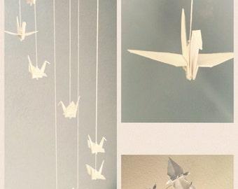 White Mini Baby Crib Origami Crane Spiral Mobile