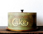 Vintage Cake Carrier Metal Tin Advertising, Ballonoff Kitchen Maid Rustic Decor Storage Serving