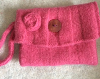 Small pink felted wool purse