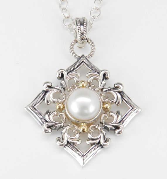 """Sterling Silver 18K Yellow Gold 12mm Pearl Enhancer Pendant Necklace 18"""" Chain"""