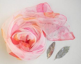 Pink and Orange Silk Scarf.Raspberry Scarf.Silk Scarf.Polka Dot Scarf.HandmadeScarf.Pink Silk Scarf.Pink Silk Scarf.Raspberry Orange Scarf.