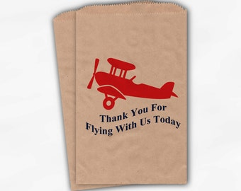 Airplane Party Candy Favor Bags - Thank You For Flying With Us Custom Treat Bags for Kids - 25 Kraft Brown Paper Bags (0018)