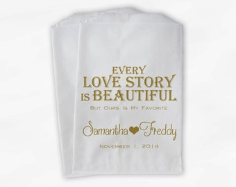 Every Love Story Is Beautiful Wedding Candy Buffet Treat Bags - Personalized Favor Bags in Gold - Custom Paper Bags (0070)