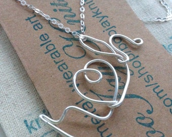 Silver Initial Name Pendant Necklace  Wire Wrapped Love Heart Sterling Silver