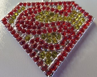 45mm*41mm Rhinestone Superman Inspired Pendant for Chunky bead  Necklace, P54