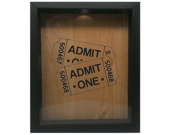 "Wooden Shadow Box Ticket Holder 9""x11"" - Admit One Tickets"