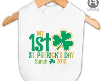 1st St. Patrick's Day Bib - personalized St. Patrick's Day bib - Babies First St. Patrick's Day