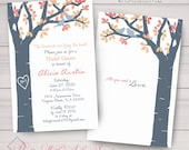 Wedding, Shower, Anniversary Invitations: Tree Carving, Mod Lovebirds, Birch, Slate & Coral. Samples/Printing/Digital Files Available