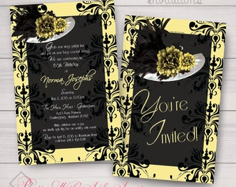 Derby Style Hat Invitations - Free Color/Text/Font Changes. Perfect for Birthdays, Showers, Bridal & Hat Themed Parties. Printed or Digital.