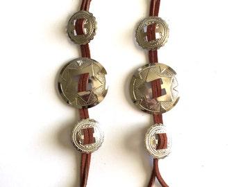 Silver Concho Leather Strip Earrings