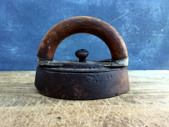Antique Iron with wooden handle
