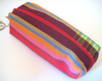 Pencil bag, Zippered Pencil Pouch, Bright Striped Kikoy Pencil Bag, Pen Bag