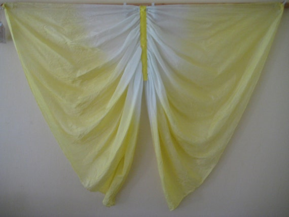 Silk Butterfly Wings Costume, Yellow and White Pure Silk Fairy Wings