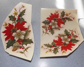 Vintage Water Mount Decals - Poinsettia with Berries and Flowers - Set  of 3 - 2 Different Sizes