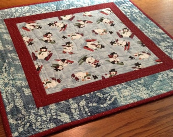 Quilted Table Topper - Snowmen at Play Table Topper - Christmas Table Topper
