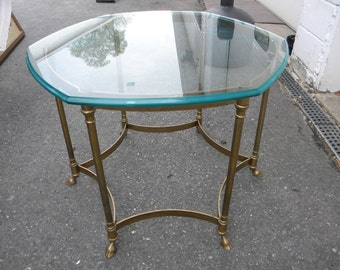 nice shape vintage 1970s solid brass HOOF FEET LABARGE glass top coffee table     pick up only
