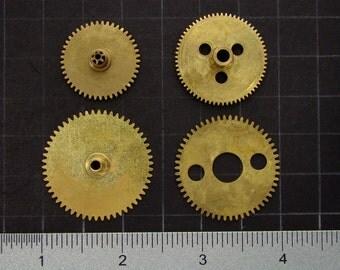 4 vintage brass gears, antique clock movement gears, brass clock wheels Steampunk Supplies 3599