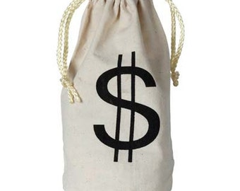 Small Canvas Money Drawstring bags SET OF 6 BAGS