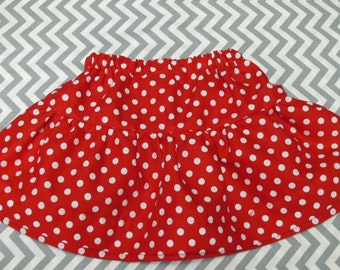 Full Red with white Polka Dot Skirt and elastic waists. Month, Toddler and Girls sizes