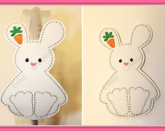White bunny with Carrot Headband on 7mm satin lined headband in white vinyl