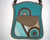 Bohemian Haversack small sling bag Hippie Crossbody Purse  shoulder small teal tote mix fabrics in Turquoise Brown Beige with circle mandala