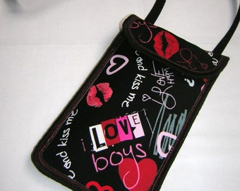 NEW! Small neck wallet fits iPhone 6 / Plus, Large Smartphone Case, Cell Phone Purse Cute Hipster Love black red pink