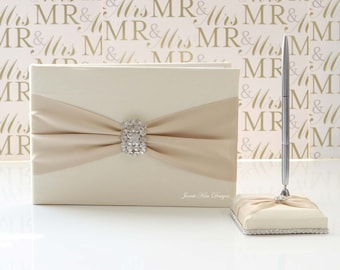 Wedding Guest Book/ Sign In book and pen set - Custom Made to Order