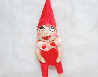 Spun cotton Valentine  gnome ornament  'Funny Face' OOAK vintage craft by jejeMae